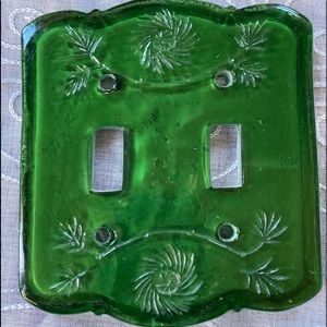 Green Glass light switch cover